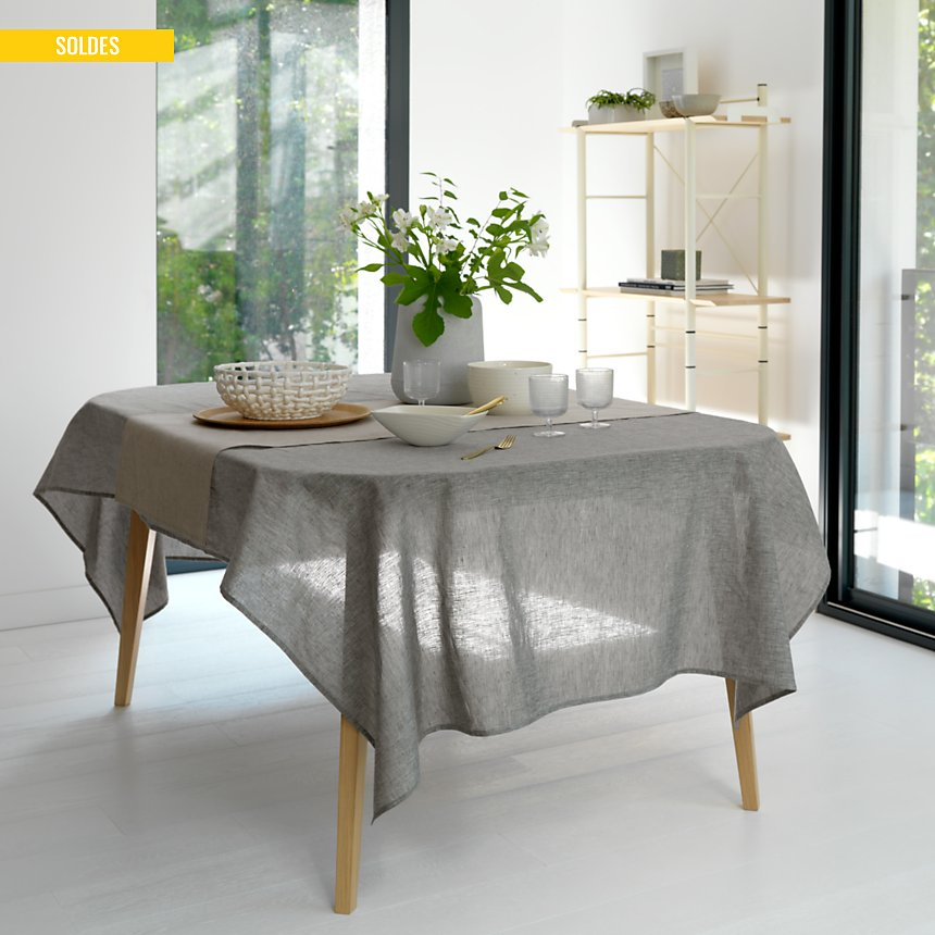 Chemin de table Chambray Lin Catherine  et Francine CAMIF EDITION, beige