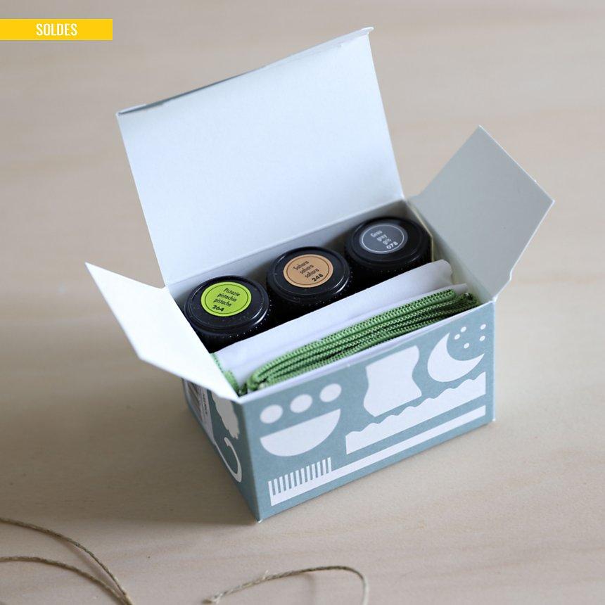 Coffret de personnalisation textile  CAMIF EDITION (vert, bleu, beige)