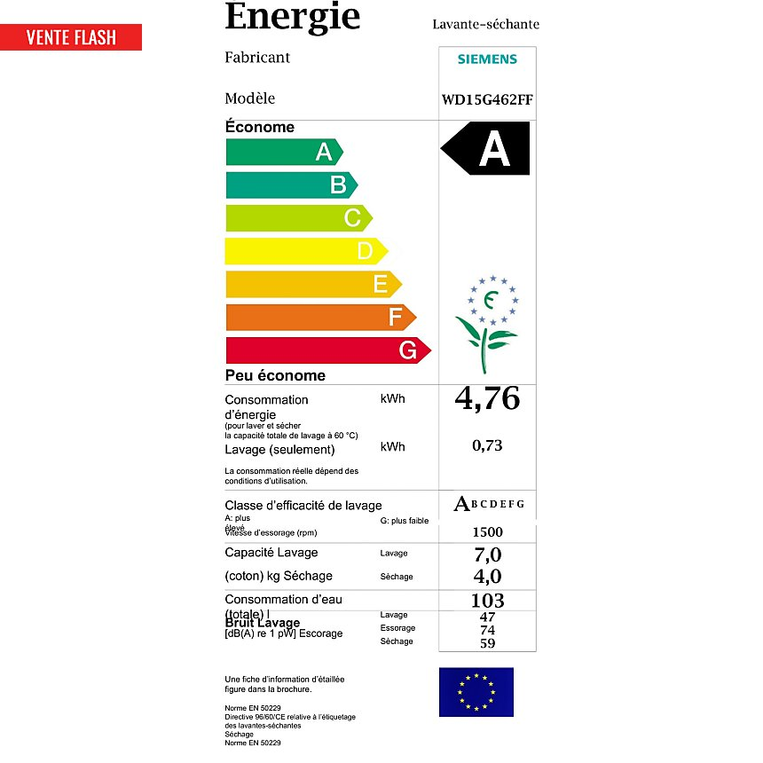 Lave linge séchant SIEMENS WD15G462FF  garanti 5 ans