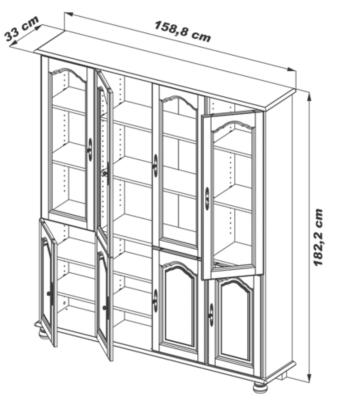 Bibliothèque Cluzel 8 portes, chêne.