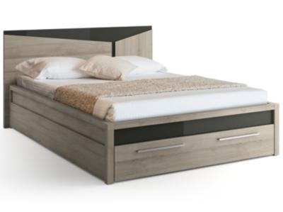 lit avec tiroir delphy gris. Black Bedroom Furniture Sets. Home Design Ideas