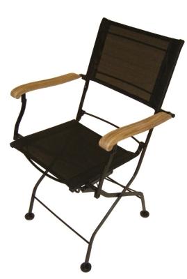 Lot 2 fauteuils pliants Textilène  coloris noir