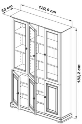 Bibliothèque Florac 6 portes, merisier