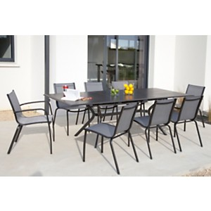 Ensemble table Malaga 180/240 et 6 chaises Linea Brush /argent