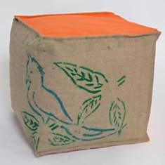 Pouf cube Café Doux LILOKAWA, orange