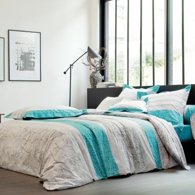taie d 39 oreiller percale cadences blanc des vosges bleu. Black Bedroom Furniture Sets. Home Design Ideas
