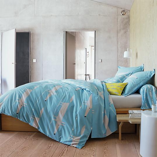 housse de couette percale mr fox scion living bleu. Black Bedroom Furniture Sets. Home Design Ideas