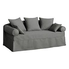 Canapé-lit gigogne tissu coton d...