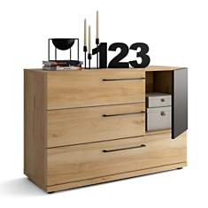 Commode 3 tiroirs + 1 porte Douglas noye...
