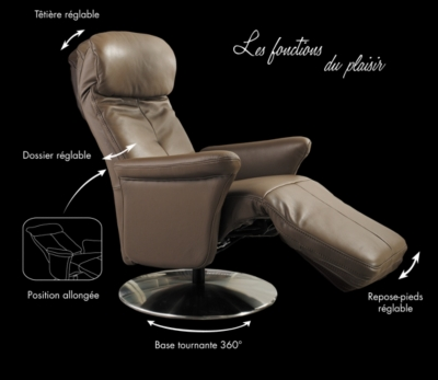 fauteuil de relaxation manuel cuir eve. Black Bedroom Furniture Sets. Home Design Ideas