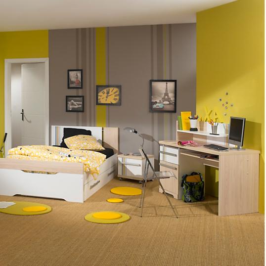 ensemble lit avec tiroir chevet burea u tag re gu rini re gami. Black Bedroom Furniture Sets. Home Design Ideas