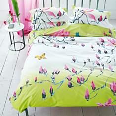 Parure de lit percale Madame Butterfly  ...