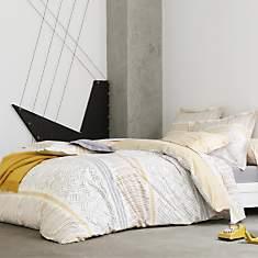 Parure de lit percale Maya Ocre BLANC  D...