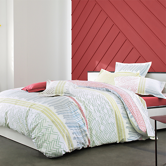 Housse de couette percale maya rubis blanc des vosges - Linge de lit carre blanc ...