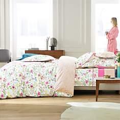 Parure de lit percale Poème Pink BLANC  ...
