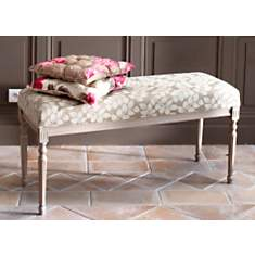 Banc de lit Romance blanc garni tissu