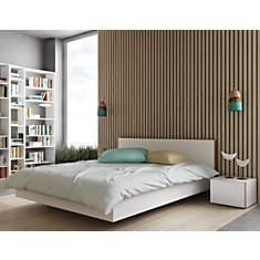 Lit avec tête de lit bois+ 2 chevets  Th...