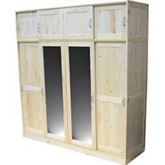 Armoire 4 portes Aspen vernis naturel