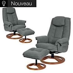 Lot de 2 fauteuils relax tissu antitache...