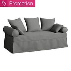 Canapé-lit gigogne tissu coton déhoussab...