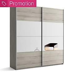 Armoire 2 portes bois/miroir Delphy