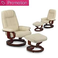 Lot de 2 fauteuils relax Camaïeu en cuir...