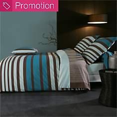 Parure de lit percale Stripe Bleu  TRADI...