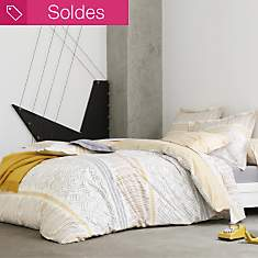 Taie percale Maya Ocre BLANC DES VOSGES