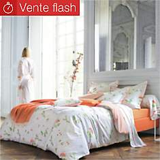 Drap percale Bucolique Orange BLANC DES ...