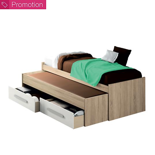 lit double gigogne avec tiroirs de rangement stuart. Black Bedroom Furniture Sets. Home Design Ideas