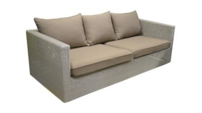 Canapé 3 places Meadow blanc OCEO  avec coussins taupe