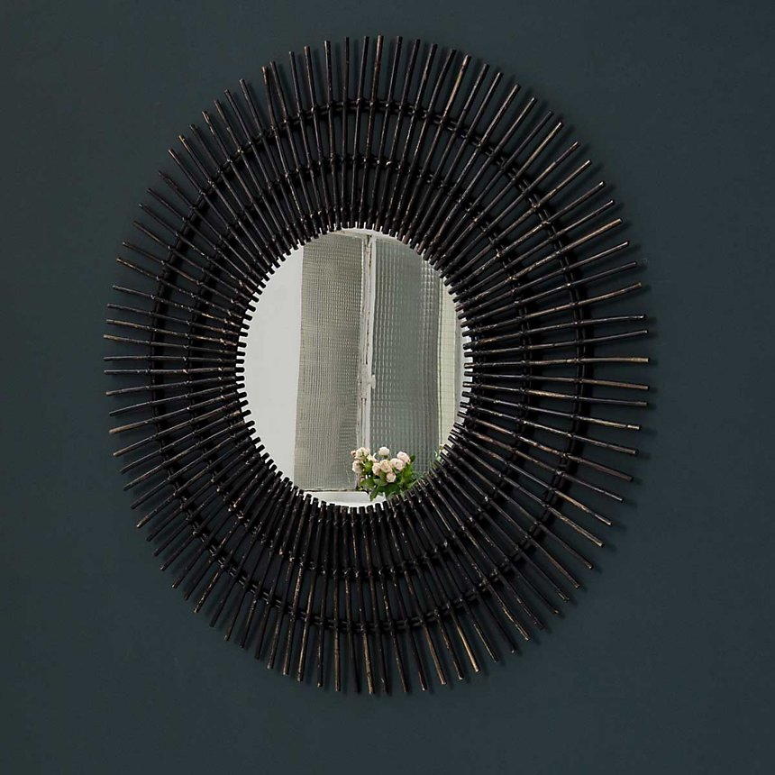 Miroir rond en rotin XL 120 cm