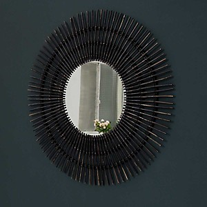 Miroir rond en rotin XL 120 cm Noir