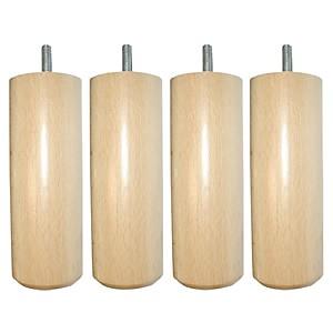Jeu de 4 pieds cylindriques bois vernis