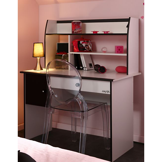 bureau avec rehausse paolina. Black Bedroom Furniture Sets. Home Design Ideas