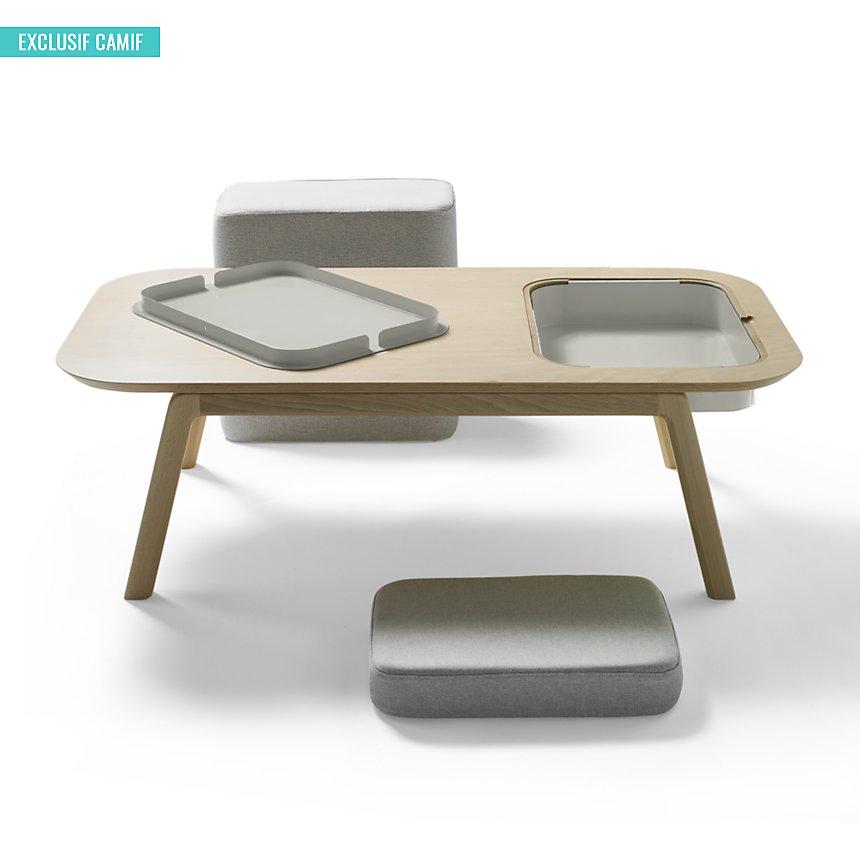 Table basse Thomas & Florian avec casier , coussin et pouf CAMIF EDITION