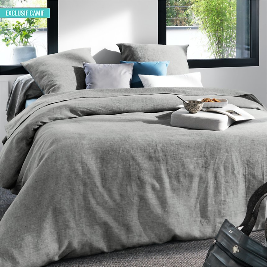 Drap Chambray Lin Catherine et Francine  CAMIF EDITION, gris chiné