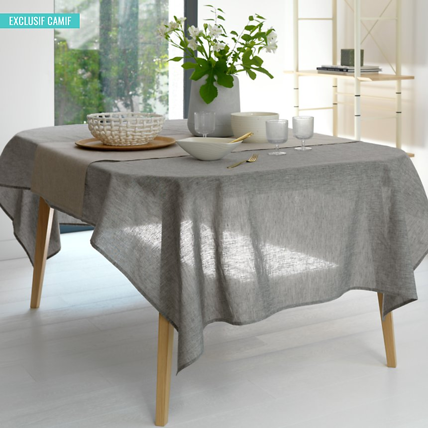 Nappe Chambray Lin Catherine et Francine  CAMIF EDITION, gris chiné