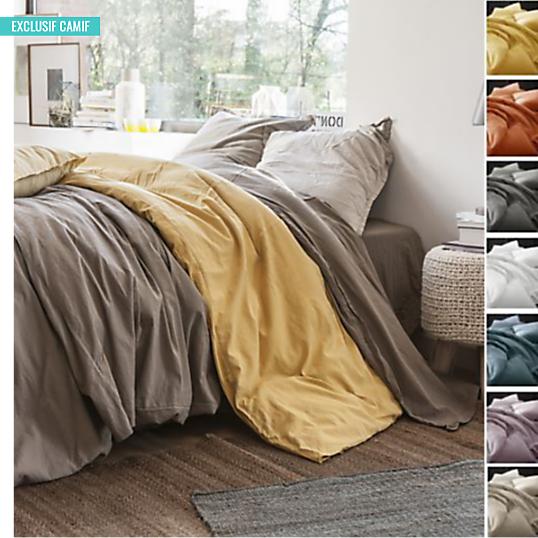 housse de couette coton lin lav flandres labelissim. Black Bedroom Furniture Sets. Home Design Ideas